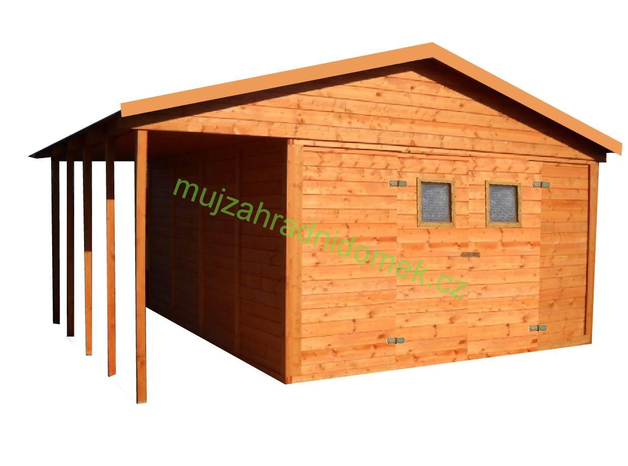 Zahradní dřevěný domek BILBAO s terasou 12,6m+3,6m, 19mm, s okny