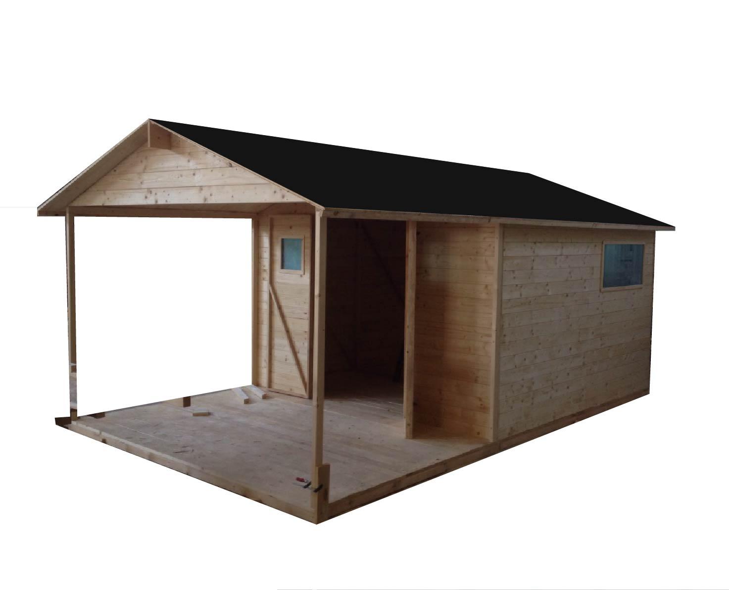 Zahradní dřevěný domek MAD s terasou 15m2, 19mm, s okny