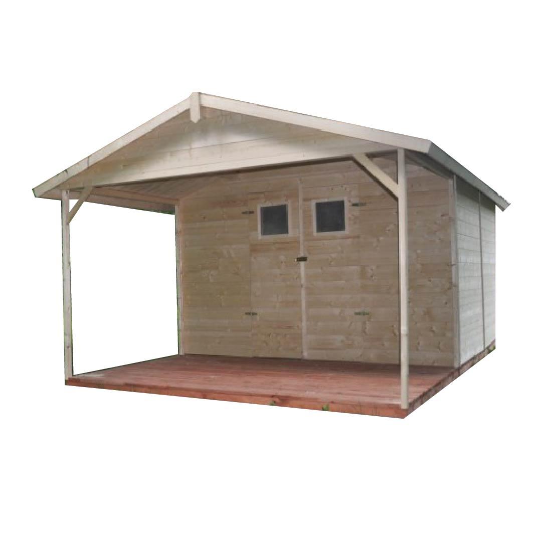 Zahradní dřevěný domek SEV s terasou 12m2, 16mm, s okny