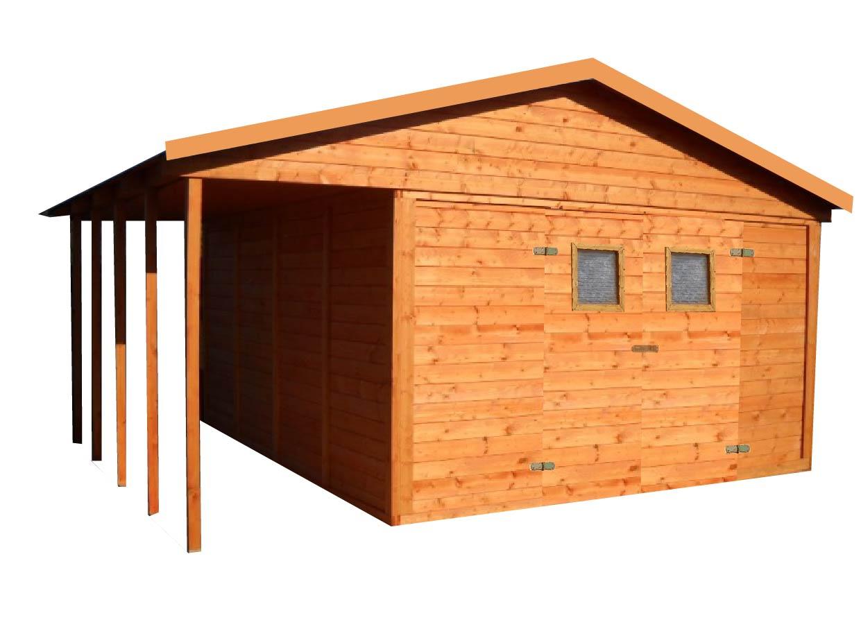 Zahradní dřevěný domek BILBAO s terasou 12,6m+3,6m, 16mm, s okny