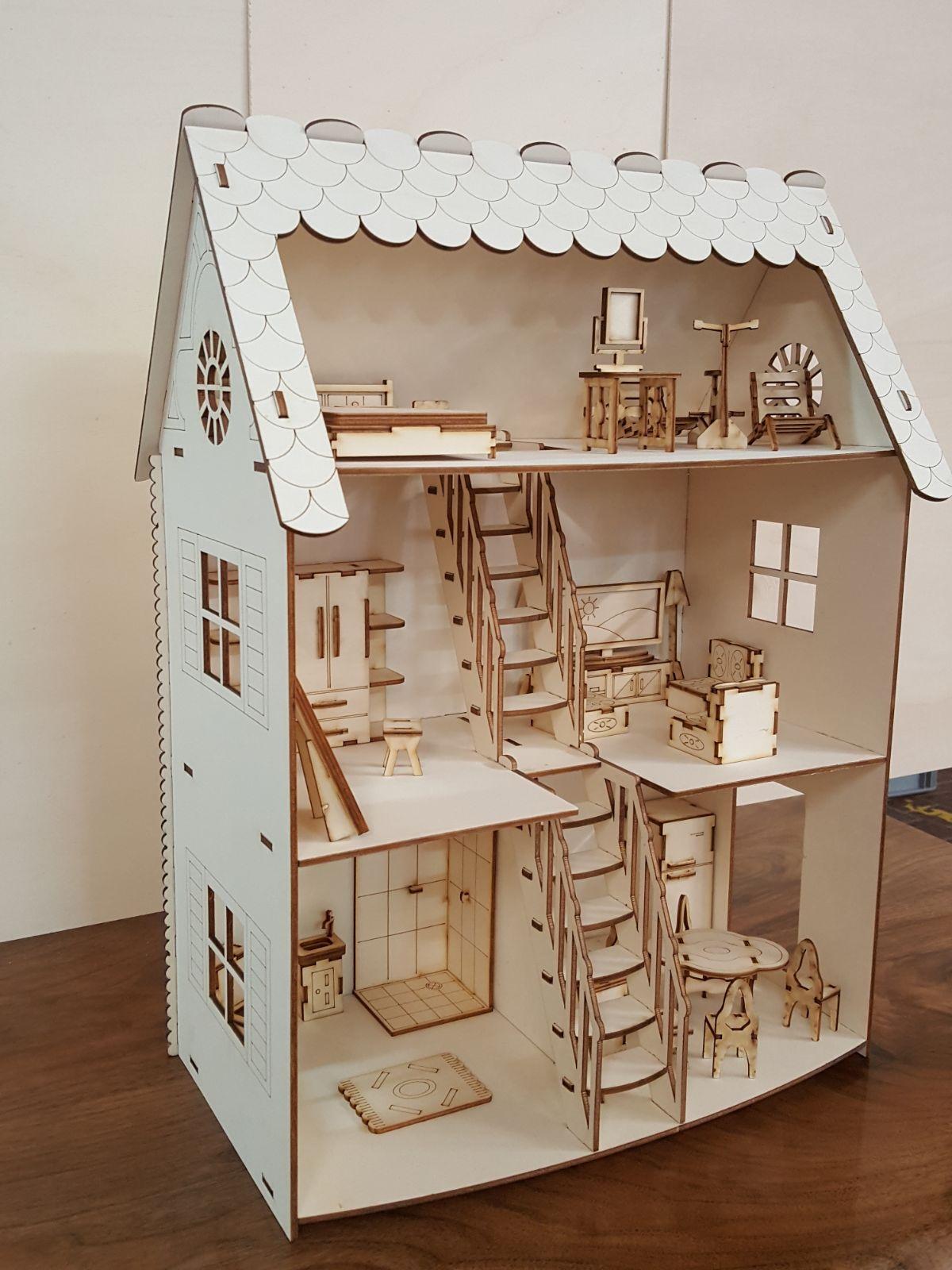 Domek pro panenky / Dětský dřevěný domeček pro panenky 36 x 50 x 20cm
