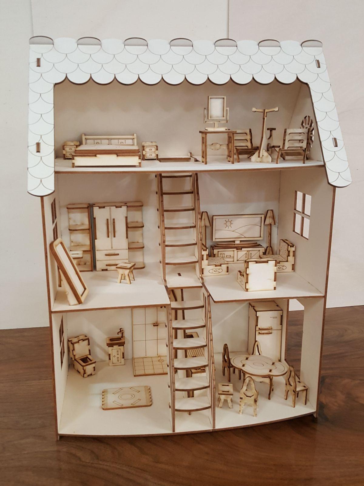 Domek pro panenky / Dětský dřevěný domeček pro panenky 60 x 80 x 31 cm